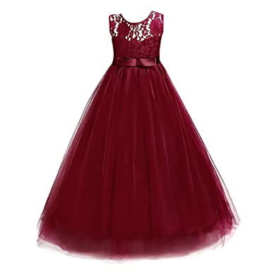 IBTOM CASTLE Girls Flower Dress Formal Wedding Princess Party Bridesmaid Pageant Prom Ball Gown Tulle Tutu