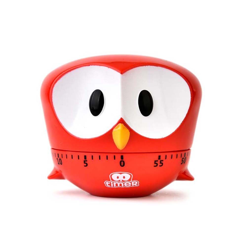 Cartoon Big Eyed Eagle Machinery Timer 60 Minutes Mechanical Kitchen Cooking Timers Clock Loud Alarm Counters Manual Timer Kitchen Utensil (Red)