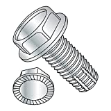 Steel Thread Cutting Screw, Zinc Plated Finish, Serrated Hex Washer Head, Type F, 3/8''-16 Thread Size, 1'' Length (Pack of 10)