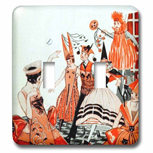 (3dRose TNMPastPerfect Halloween - Vintage Orange and Black Halloween Party - Light Switch Covers - double toggle switch)