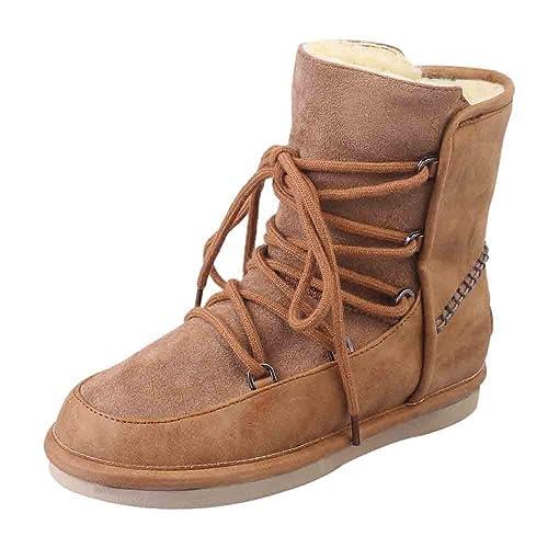 Tefamore Botas de Nieve Mujer, Invierno Forradas Calientes Planos Antideslizante Cálidas Cordones Botines Moda Snow Outdoor Botas Zapatos de Mujer: ...
