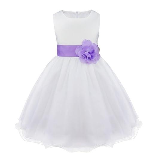 iiniim Mädchen Kleid Festliche Prinzessin Kleider Blumenmädchenkleider Weißes Taufkleid Hochzeitskleid Partykleid Festzug Gr.