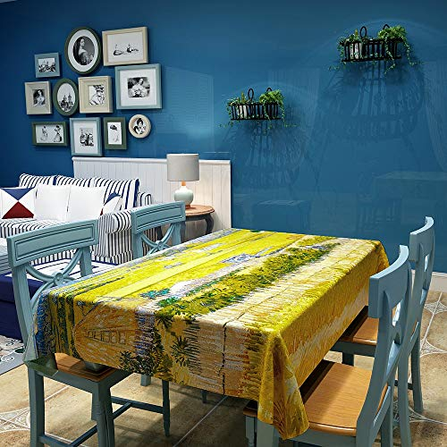 INVIN ART Rectangle Tablecloth The Harvest by Van Gogh,Table Cover Table Cloth for Kitchen Dinning Tabletop Decoration