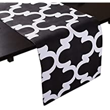 LinenTablecloth Black and White Trellis Table Runner, 13 x 90-Inch