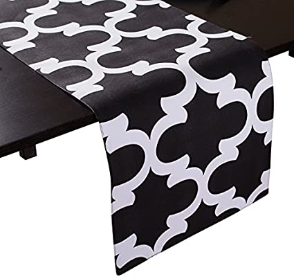 LinenTablecloth Black And White Trellis Table Runner, 13 X 90 Inch