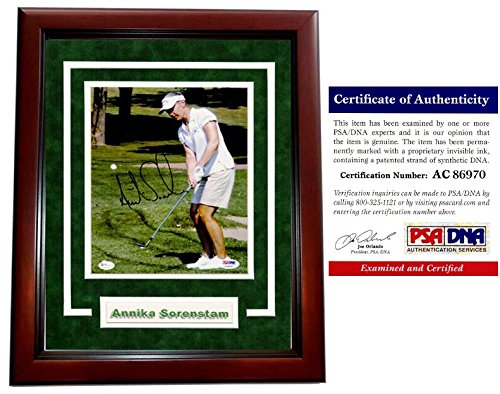 Annika Sorenstam Signed - Autographed Golf 8x10 inch Photo - MAHOGANY CUSTOM DELUXE FRAME - PSA/DNA Certificate of Authenticity (COA) - Annika Sorenstam Autographed Golf