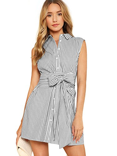 Romwe Women's Cute Sleeveless Striped Belted Button up Summer Short Shirt Dress Grey M (Sleeveless Belted Shirt)