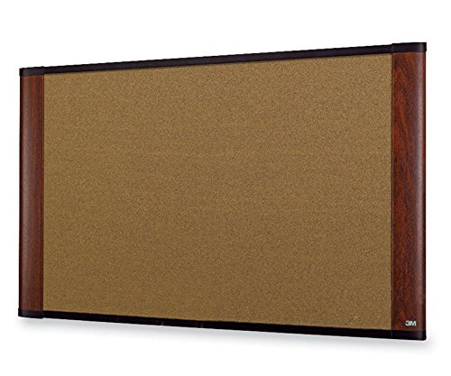 "3M Wide-Screen Style Bulletin Board - 36"" Height x 48"" Width - Mahogany Cork Surface - Mahogany Wood Frame (160325A)"