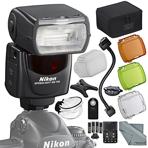 Nikon SB-700 AF Speedlight Flash Kit with Remote, Bounce Diffuser, 12'' Flash Cord, Fibertique Cloth, More by Photo Savings