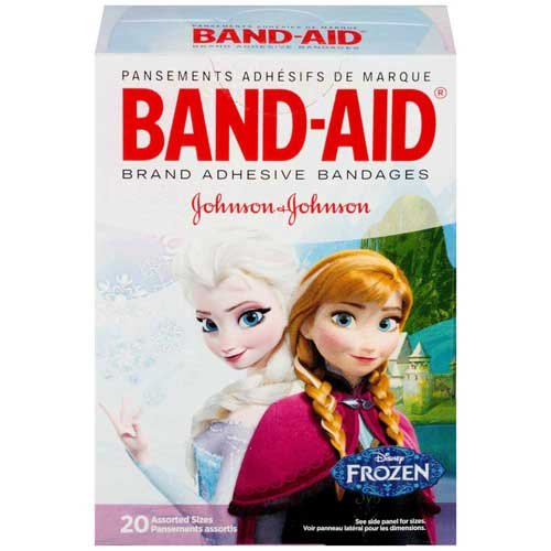Price comparison product image Johnson and Johnson Band-Aid Brand Disney Frozen Adhesive Bandages Assorted Sizes 20 ct Box -- 24 per case.