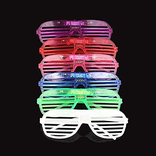 Originalidad LED Glasses & Kids Party Favors - 24 Neon Glow in The Dark Parties Supplies for Goody Bags and Teen Birthdays -3 LED Sunglasses Settings Glow in The Dark -