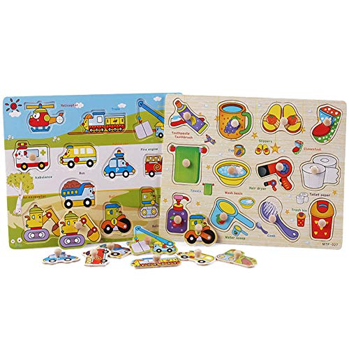 - Wooden Peg Puzzle for Toddlers -Puzzles Toddler Learning Toys - 2 Piece Puzzle Set for Kids - Transportation, Daily Necessities - Shape Board Puzzles for Toddler Ages 3+, Perfect peg Board for Childr