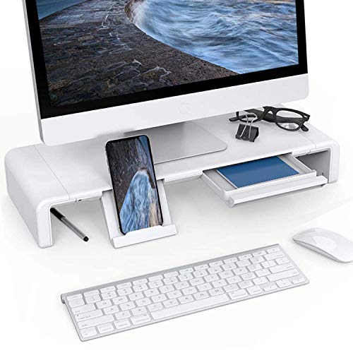 Monitor Riser Stand Foldable Adjustable Length Computer Monitor Stand with Drawer and Keyboard Storage Computer Desk Riser Shelf White for iMac Printer PC Laptop