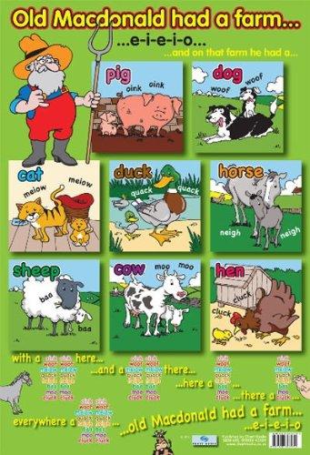 (Laminated Old Macdonald's Farm Traditional Nursery Rhyme Mini Poster 40x60cm )