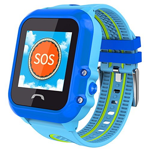 IP67 Waterproof GPS LBS Tracker Locator For Kids Children Smart Watch Kids WristWatch Anti-lost SOS Call Location Finder Remote Monitor Pedometer Parent Control By iPhone and Android APP (Blue)