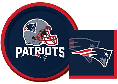New England Patriots NFL Dessert Napkins & Plates Party Kit for 8 (Patriots Party Supplies)