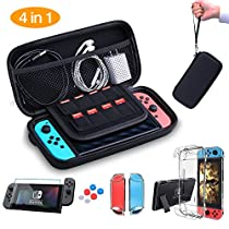 HEYSTOP Nintendo Switch Carrying Case, Hard Shell Travel Carrying Protective Storage Case for Nintendo Switch (Accessories: Clear Case Dockable, Tempered Glass Screen Protector, Thumb GripsCaps)