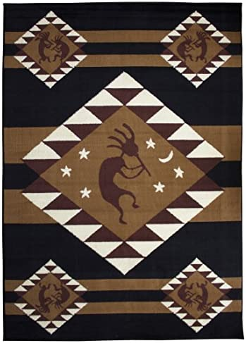 Rugs 4 Less Collection Southwest Native American Indian Dancing Kokopelli Area Rug in Black 5 x7