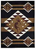 Rugs 4 Less Collection Southwest Native American Indian Dancing Kokopelli Area Rug in Black (5'x7')