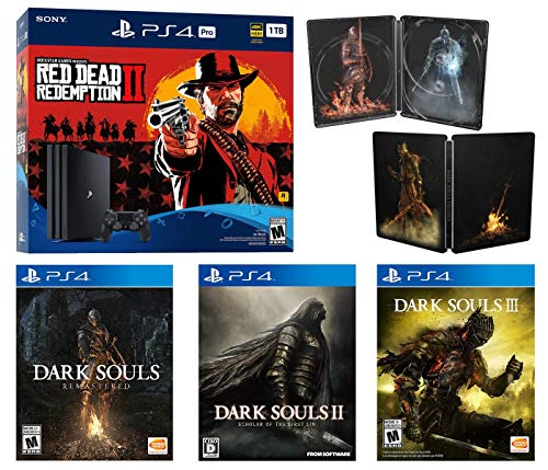 PlayStation 4 Dark Souls Trilogy Red Dead Bonus Bundle: Dark Souls Remastered, Dark Souls II, Dark Souls III, Exclusive Steel Book, PlayStation 4 Pro CUH-7215B 1TB Console - Black