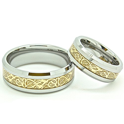 Matching Couples Set 7mm & 8mm Tungsten Golden Colored Celtic Dragon Inlay Bands His & Hers Wedding Engagement Rings Set (Whole & Half Sizes) by Blue Chip Unlimited
