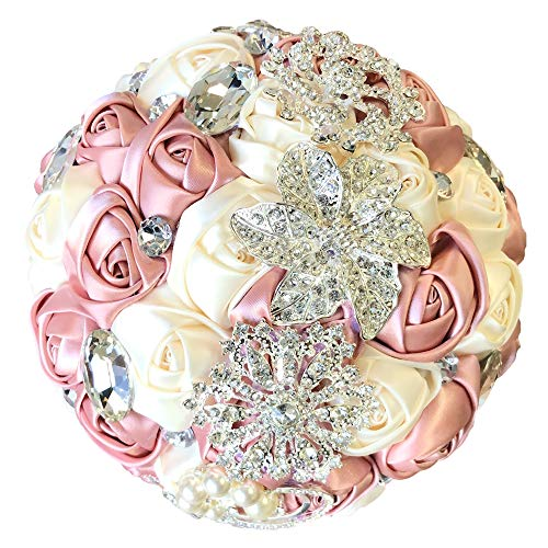 - Abbie Home Advanced Customization Romantic Bride Wedding Holding Toss Bouquet Rose with Pearls and Rhinestone Decorative brooches Accessories-Multi Color Selection (Pink)