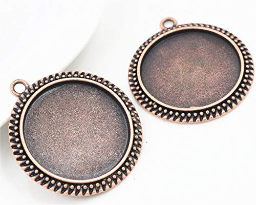 Pendant Trays - 5pcs/Lot 30mm Inner Size 4 Colors Plated Classic Style Cabochon Base Setting Charms Pendant Tray