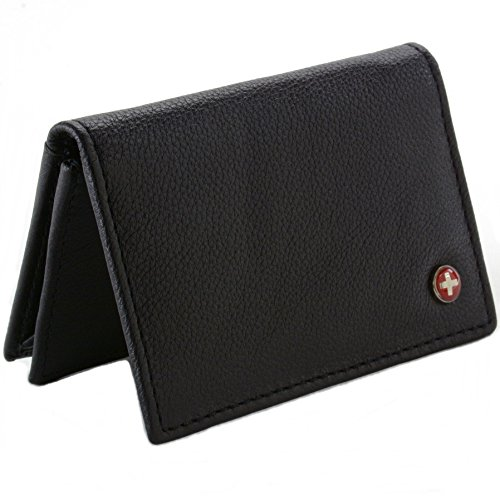 Alpine Swiss Classic Leather Business Card Wallet with ID Window - Expandable pocket - Thin Slim Billfold Credit Card Case