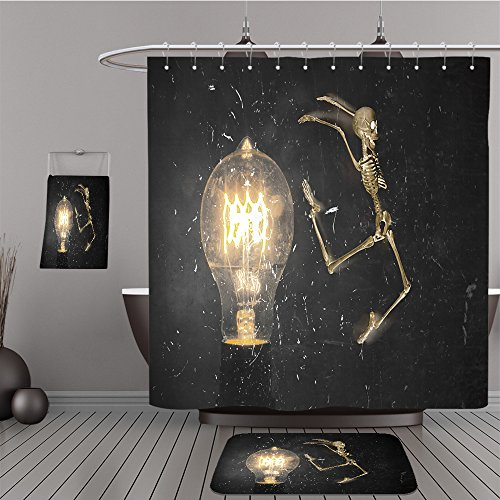 Uhoo Bathroom Suits & Shower Curtains Floor Mats And Bath Towels 307731365 Horrifying vintage Halloween themed skeleton jumping past lightbulb For Bathroom
