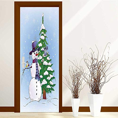 AmaPark New Art Decor Home Creative Snowman in Winter with Mistletoe Gift Box Top Hat and Scarf Privacy Protection W30 x H80 INCH