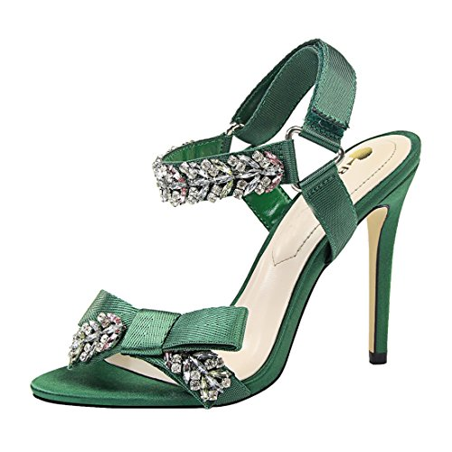 - Miyoopark Women's Slingback Strap Rhinestone Formal Party Prom Bow Sandals Green US 5
