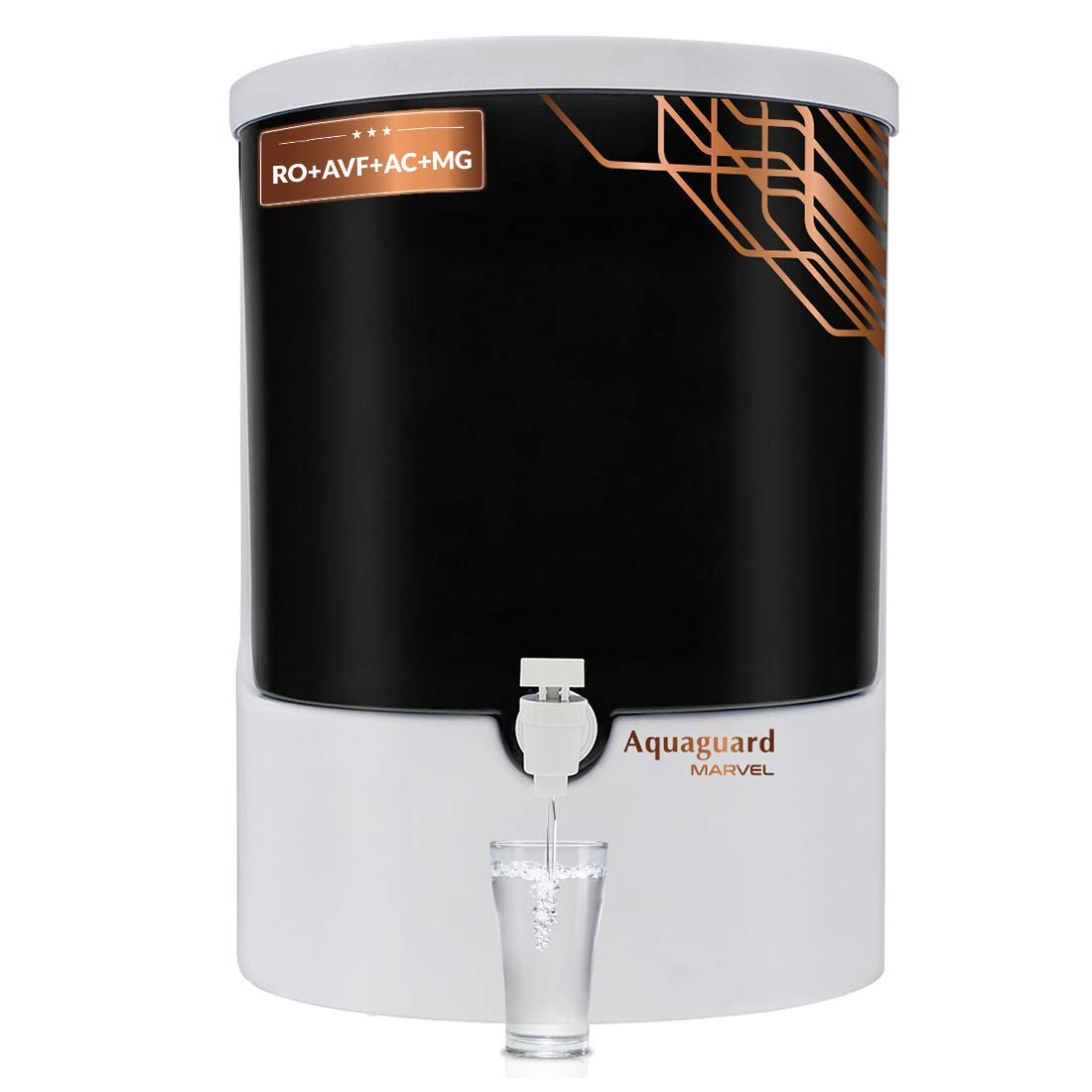 [Apply Coupon] Aquaguard Marvel RO+Advanced Virus Filter+Active Copper+Mineral Guard Technology (8L) water purifier from Eureka Forbes (White & Black)