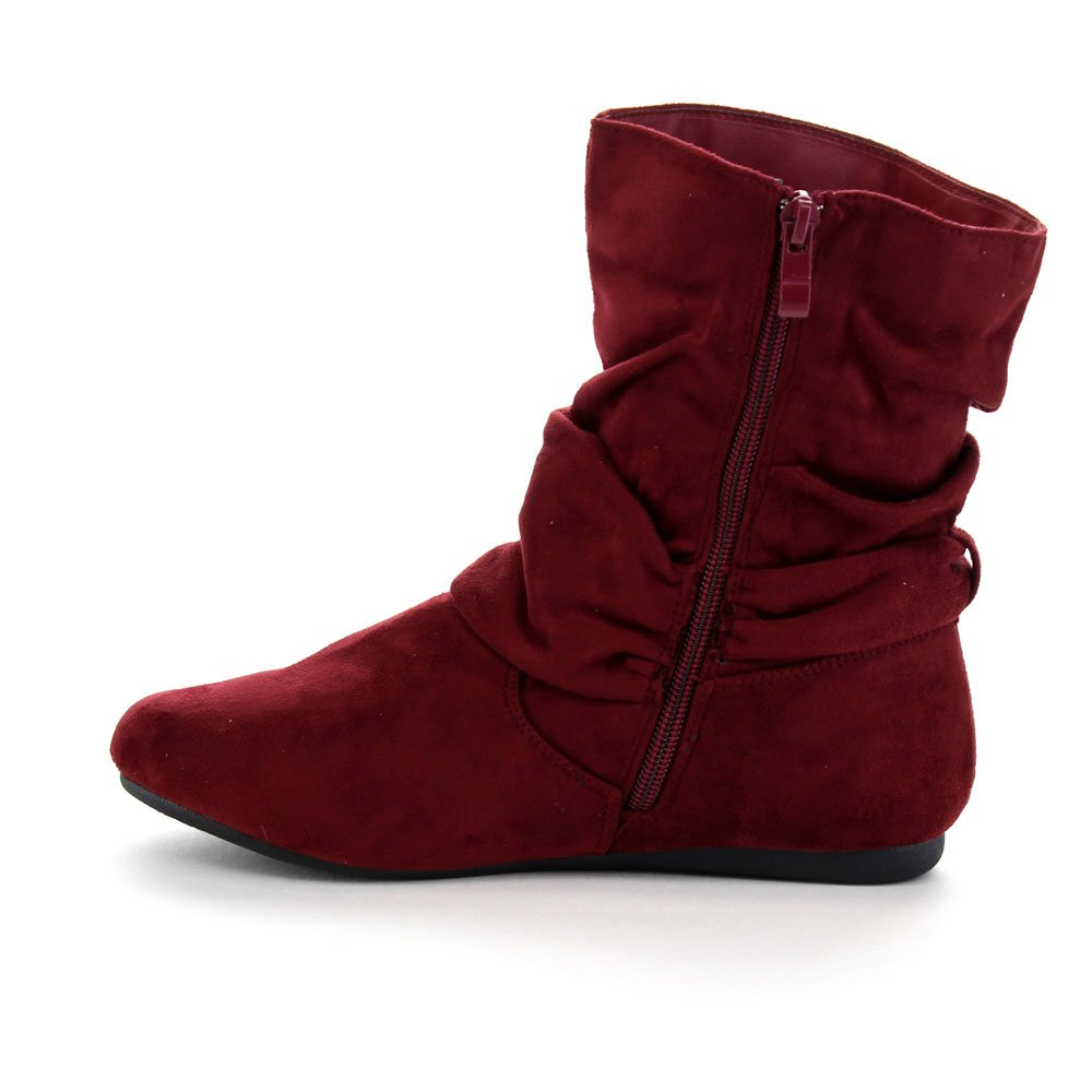 Womens Fashion Calf Flat Heel Side Zipper Slouch Ankle Boots