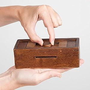 Bits and Pieces Stash Your Cash Secret Puzzle Box Brainteaser - Wooden Secret Compartment Brain Game for Adults