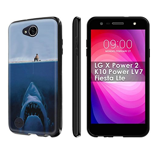 LG [X Power 2] [LV7] [Fiesta] [SlickCandy] [Black] Slim Fit Gummy TPU Phone Case [Screen Protector] - [Big - Fish Fiesta