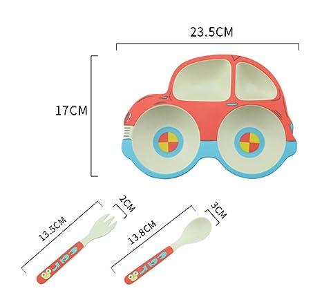Amazon.com: Dibujos animados coche juego de platos niños ...
