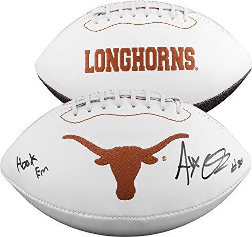 Alex Okafor Texas Longhorns Autographed White Panel Football with Hook Em Horns Inscription - Fanatics Authentic...