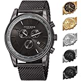 Father's Day Gift - Akribos XXIV Swiss Chronograph Quartz Watch - Round Radiant Sunburst Dial - Stainless Steel Mesh Strap - Omni Men's Dress Watch - AK813 -Gun Metal