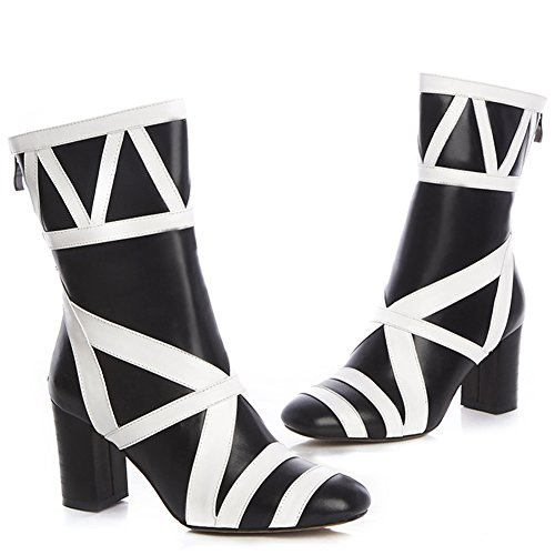 Minivog Kvinna Fyrkantig Tå Rand Läder Chunky Klack Boots Med Dragkedja Svart-vit