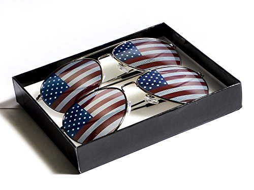 Goson American Flag Mirror Aviator Novelty Decorative Sunglasses (Silver/Black Combo in Black Gift - Glasses Sun American Flag