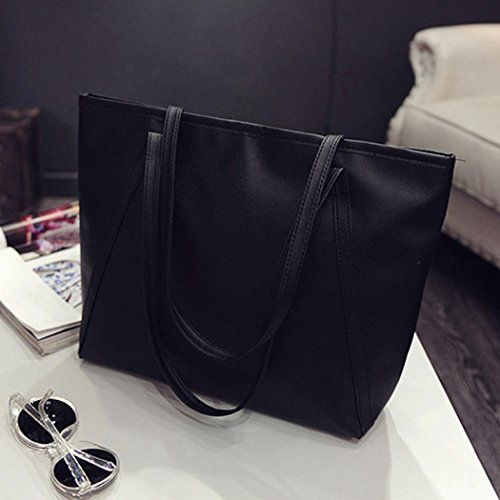 Large Leather Bag Shoulder Retro Sling Black PU Crossbody Handbag Tote Women's S1qzxS