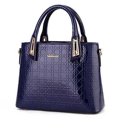 New QCKJ-Lorenz-Borsa a tracolla da donna in ecopelle, colore: blu scuro