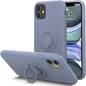 KUMEEK for iPhone 11 Case Fingerprint | Kickstand | Anti-Scratch | Microfiber Liner Shock Absorption Gel Rubber Full Body Protection Liquid Silicone Case for iPhone 11- Lavender Grey