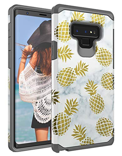 Casy Mall Case for Samsung Galaxy Note 9,Dual Layer Heavy Duty Hybrid PC+TPU Protect Series Pineapple Gray