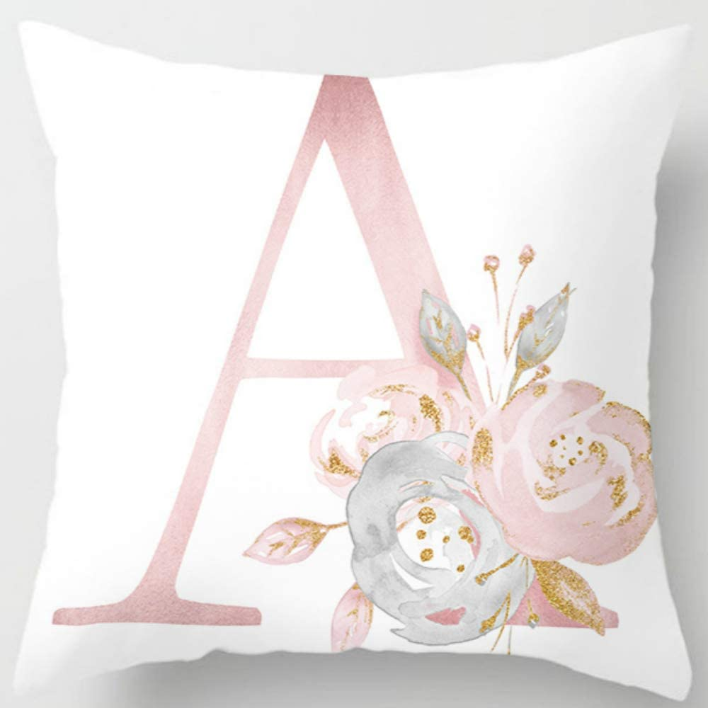 Eanpet Throw Pillow Covers Alphabet Decorative Pillow Cases ABC Letter Flowers Cushion Covers 18 x 18 Inch Square Pillow Protectors for Sofa Couch Bedroom Car Chair Home Decor (A)