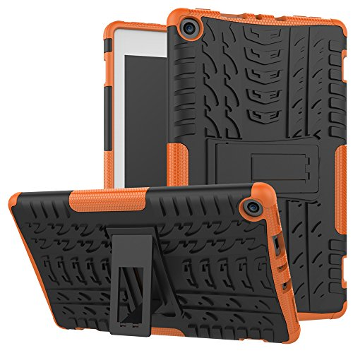 Maomi AMZ FlRE 8 (2017/2018 Release) Case,[Kickstand Feature],Shock-Absorption/High Impact Resistant Heavy Duty Armor Defender Case for KlNDLE FlRE HD 8 7th/8th Tablet (Orange)