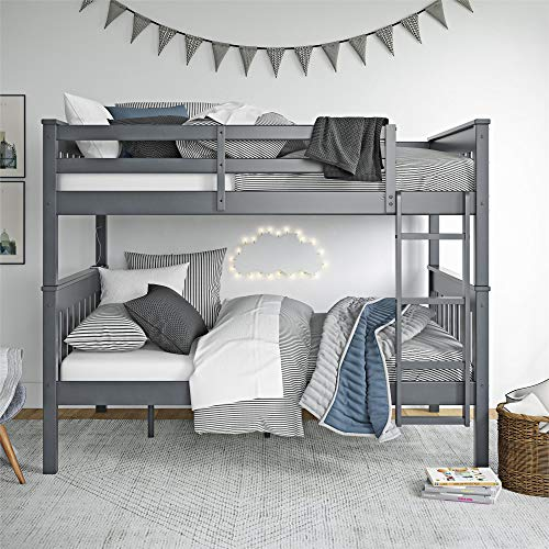 Dorel Living Moon Full Over Full Bunk Bed with USB Port, Gray