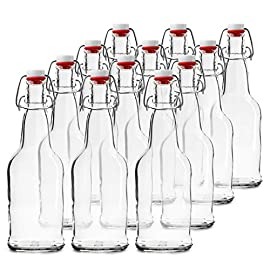 Home Brewing Glass Beer Bottle with Easy Wire Swing Cap & Airtight Rubber Seal | Amber or Clear Glass | 16oz | Case of 12 | by Chef's Star 2 FLIP TOP BREWING BOTTLES - The airtight bottles seal with a plastic, gasket lid and a wire bale allow for a hermetic seal, they arrive assembled and attached to the bottles. Stopper opens and closes easily. REUSABLE WATER BOTTLES - Chef's Star swing top clear glass bottle has a multipurpose uses. From serving water, tea, liquor, kefir or kombucha to storing sauces, vinegar, oil and more. HEAVY DUTY GLASS - Each bottle can contain 16 ounces of liquid and is made from an exceptionally durable, pressure-rated clear or amber glass for filtering light and protecting your home brew.