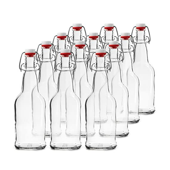 Home Brewing Glass Beer Bottle with Easy Wire Swing Cap & Airtight Rubber Seal | Amber | 16oz | Case of 12 | by Chef's… 1 FLIP TOP BREWING BOTTLES - The airtight bottles seal with a plastic, gasket lid and a wire bale allow for a hermetic seal, they arrive assembled and attached to the bottles. Stopper opens and closes easily. REUSABLE WATER BOTTLES - Chef's Star swing top clear glass bottle has a multipurpose uses. From serving water, tea, liquor, kefir or kombucha to storing sauces, vinegar, oil and more. HEAVY DUTY GLASS - Each bottle can contain 16 ounces of liquid and is made from an exceptionally durable, pressure-rated clear or amber glass for filtering light and protecting your home brew.