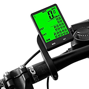 Speedrid Bike Computer Large LCD Backlight Display, Wireless Speedometer Waterproof, Bicycle Odometer Motion Sensor Multi-function for Cycling Accessories